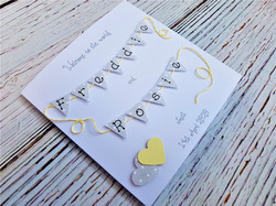 New baby 6 x 6 inch card personalised