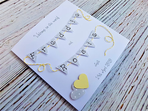 New Baby Bunting Card - Yellow Heart & String- Personalised 6 x 6 inch card
