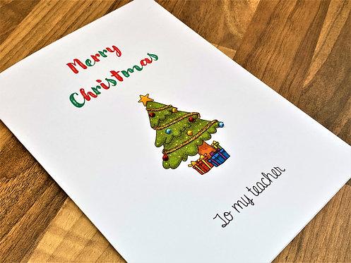 Handmade Teacher / Teaching Assistant Christmas Cards - Fancy Tree
