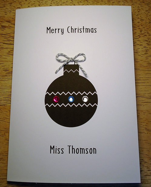 Personalised Teacher Christmas Card - Bauble on White 5 x 7