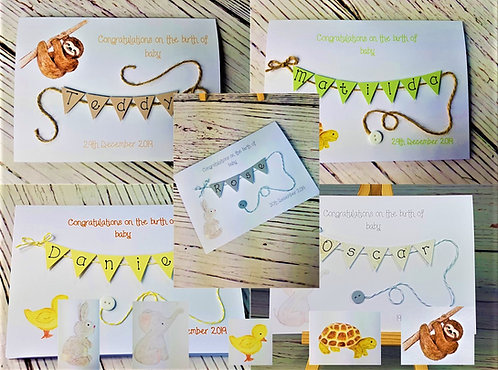 New Baby Card - Cute Animals - 5 x 7 inch - Personalised