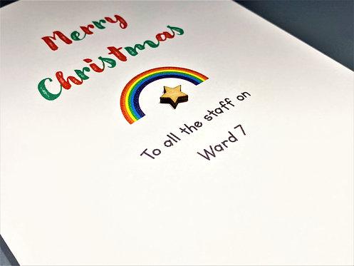 Personalised Hospital/School etc Christmas Card - Rainbow / Star on White 5 x 7