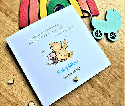 Personalised New Baby Card - Winnie the Pooh & Piglet Blue / Pink