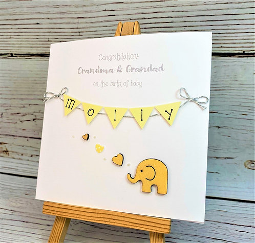 Personalised New Baby / Congratulations Grandparent / Grandchild Card - Elephant