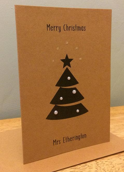 Personalised Teacher Christmas Card - Black Tree on Brown 5 x 7