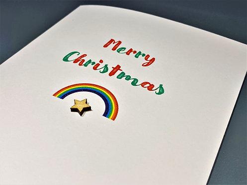 Christmas Card - Rainbow / Star on White 5 x 7