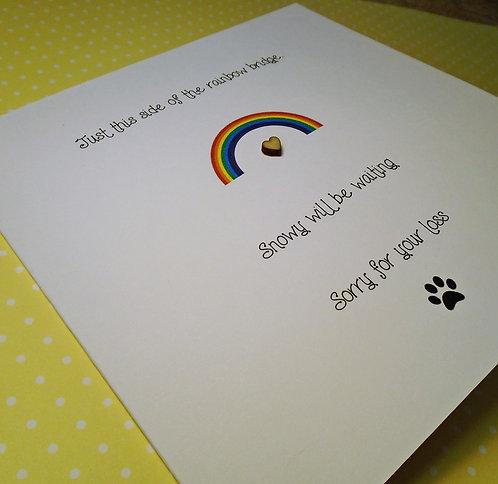 Handmade Pet Bereavement Card - Personalised - Condolence - Sympathy - 6 x 6