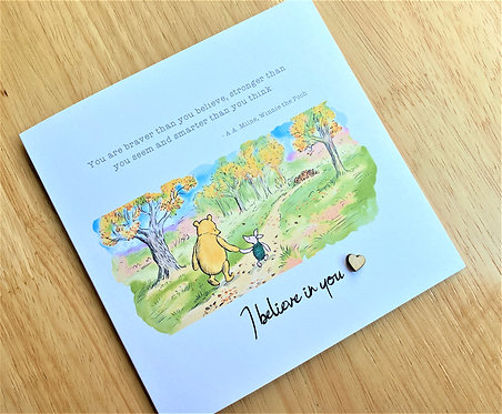 Graduation / Good Luck / Believe in You - Winnie the Pooh - 6 x 6 Card