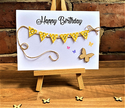 Personalised 5 x 7 inch Birthday Card - Butterfly - White Card
