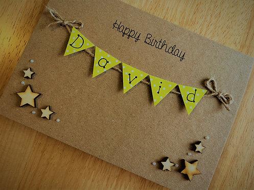 Personalised 5 x 7 inch Birthday Card - Bunting Card - Brown Kraft - Stars