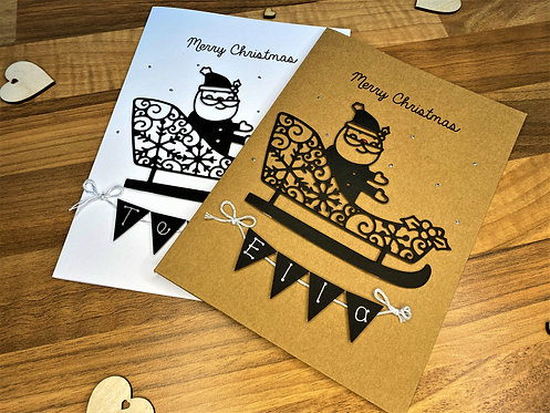 Santa Sleigh - Christmas Card - Personalised - Brown or White