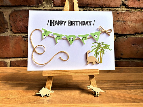 Personalised 5 x 7 inch Birthday Card - Bunting Card - Dinosaurs - T Rex etc