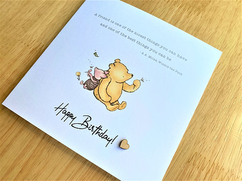 Happy Birthday - Pooh & Piglet - 6 x 6 - Friend - Card
