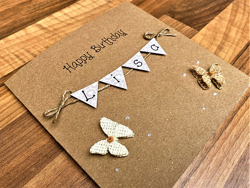 Personalised 6 x 6 inch Birthday Card - Bunting Card -Butterfly