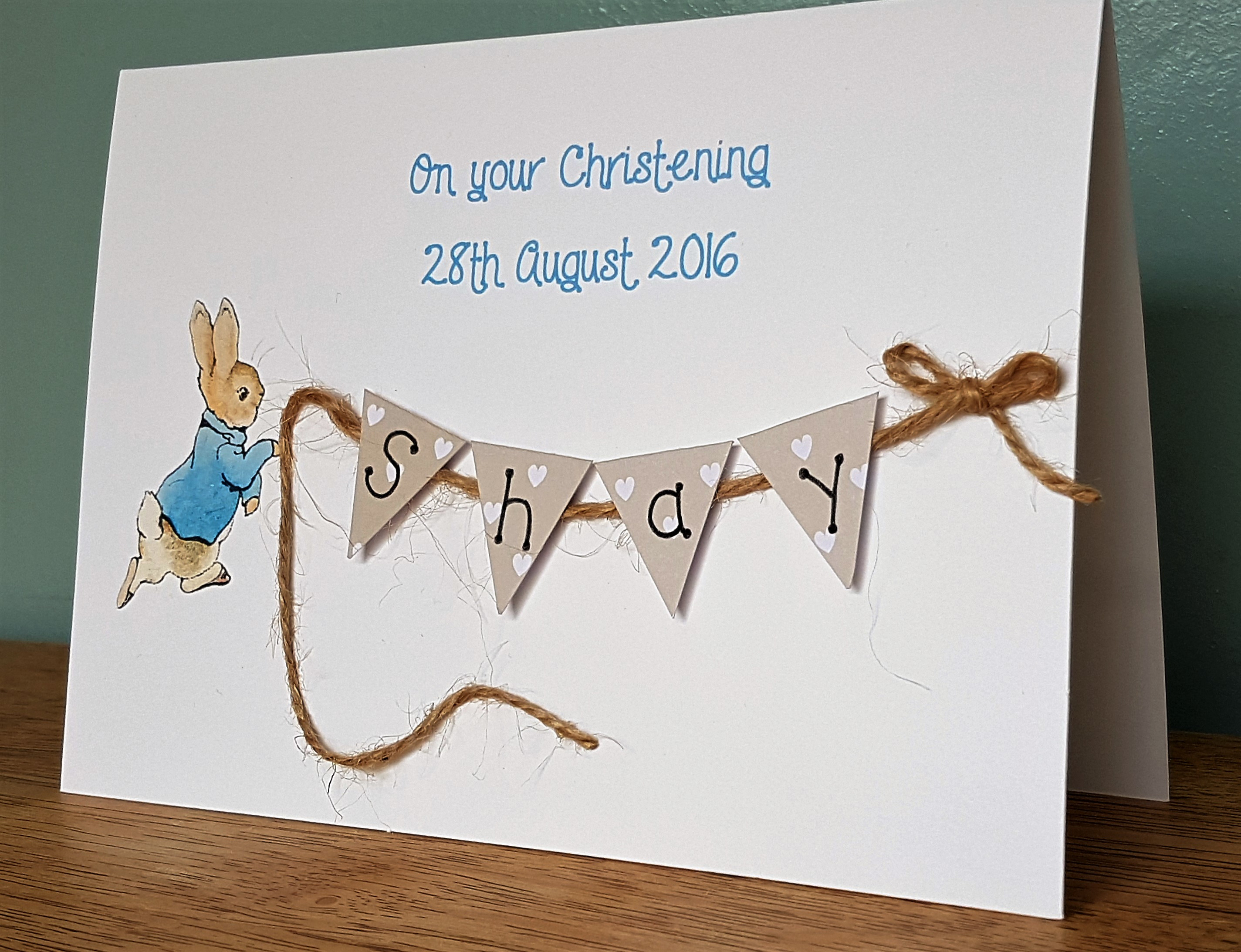 Peter Rabbit Card Personalised Christening