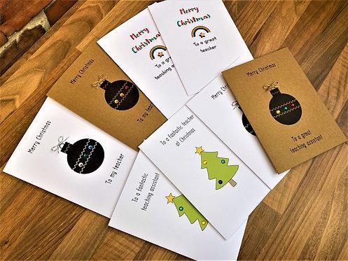 Handmade Teacher / Teaching Assistant Christmas Cards - Select Yours!