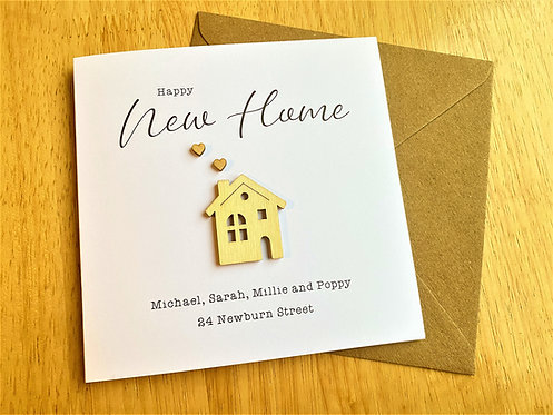 New Home Card | White | Wooden House | 6 x 6 inch Card