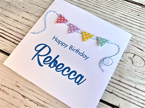 Bunting Themed Birthday Card - Personalised - With or Without Text inside
