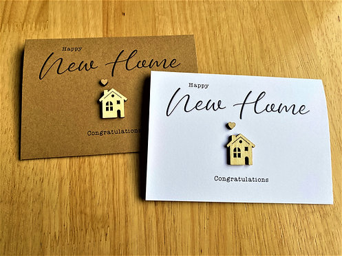 A6 New Home Card | Brown | White | Wooden House