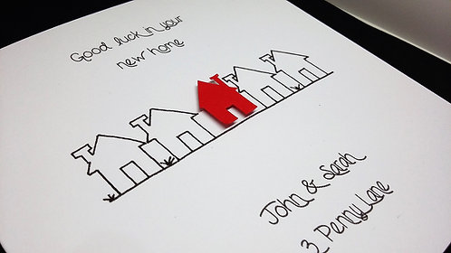 New Home Card - Row of Houses - 6 x 6 inch