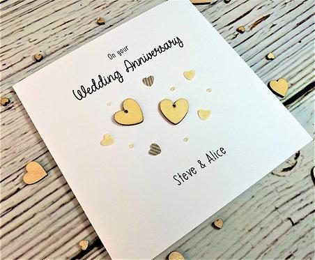 Wedding Anniversary / Anniversary Card - Personalised - 6 x 6