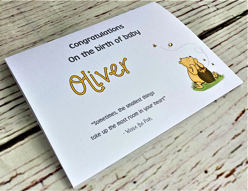Personalised Winnie the Pooh New Baby Card - Super Cute A6 sized card