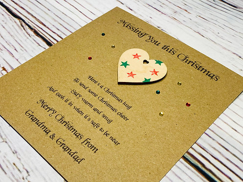 5 x 7 inch Personalised Christmas Hug Token with Stars - Brown