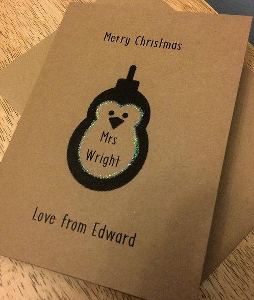 Personalised Teacher Christmas Card - Penguin 5 x 7