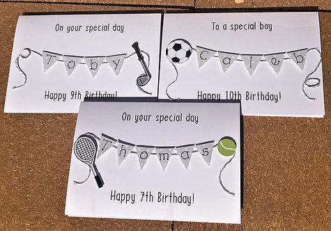 Sporty Birthday Card - Golf - Football - Tennis - Personalised
