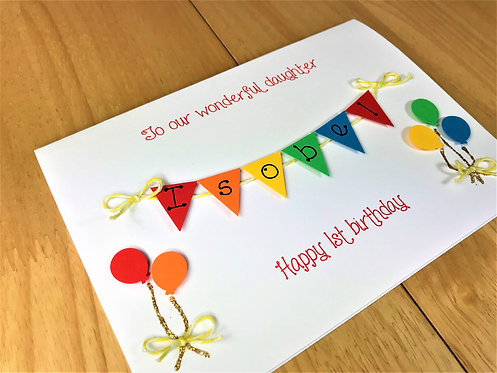 5 x7 inch Personalised Birthday Card - Balloons & Primary Colours