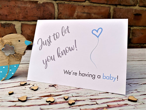 Baby Announcement Card // Personalised // Just to let you know!