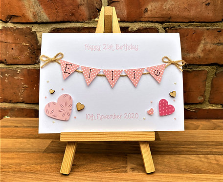 Personalised 5 x 7 inch Birthday Card - Bunting Card - White / Pink Hearts