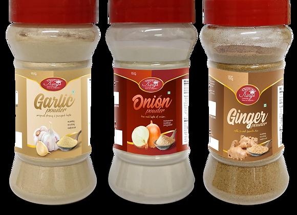 Kings  Garlic, Onion and Ginger Powder Combo-300 Grams