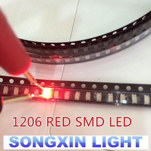100PCS  1206 Red Light Light-Emitting Diode SMD