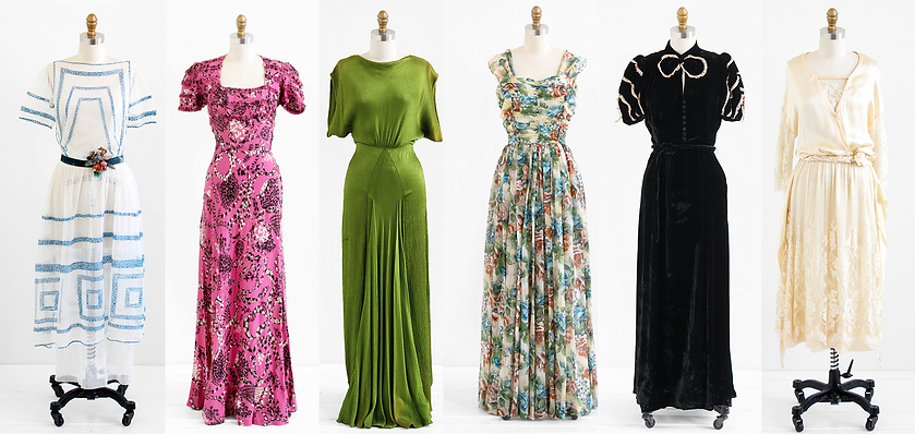 Vintage clothing from the 1910's, 1920's, 1930's, and 1940's.
