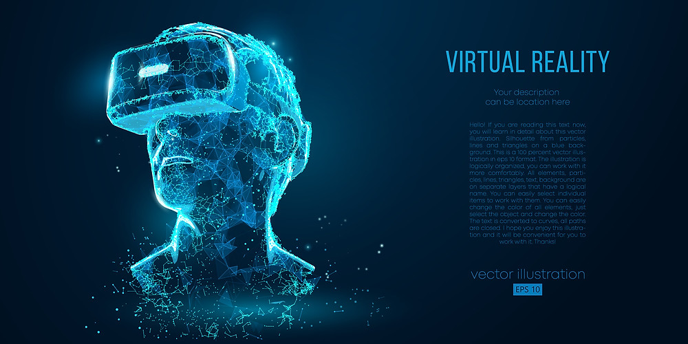 Graphic of a virtual reality headset worn by a man