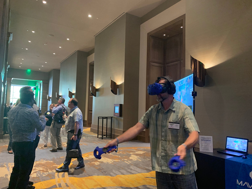 Man using virtual reality outside the conference room