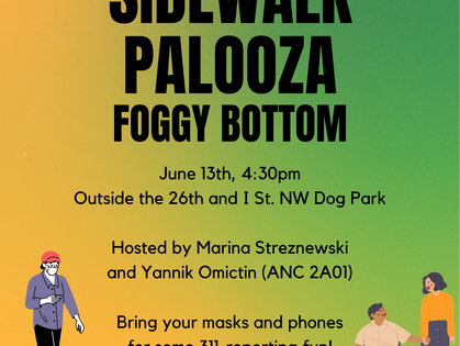 Invitation to Foggy Bottom's Sidewalk Palooza on Sunday, June 13th