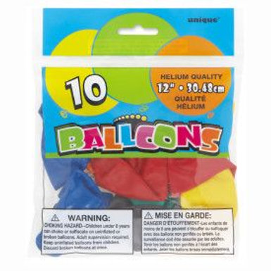 "Balloon Latex 12"" Assorted 10C"