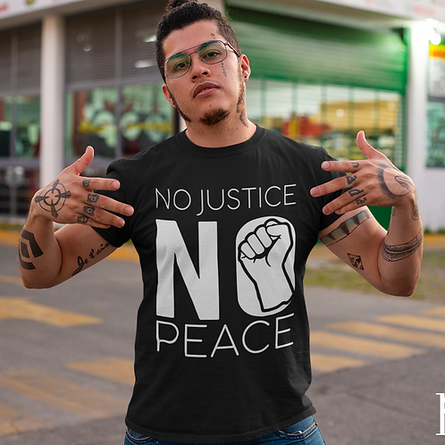 "Limited Edition Short Sleeve Crew Neck ""NO Justice NO Peace"" T-shirt"