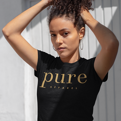 Pure Apparel Short Sleeve Crew Neck Gold-Logo Tee