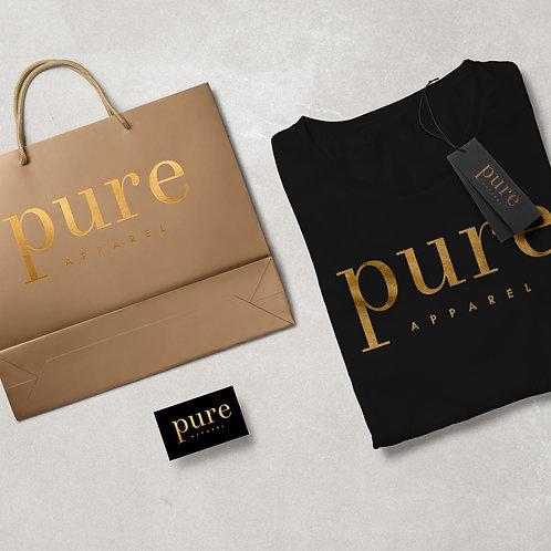 Pure Apparel Short Sleeve Crew Neck Gold-Logo Tee