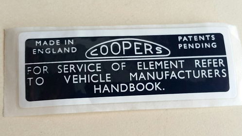 "AIR FILTER STICKER ""COOPERS"""