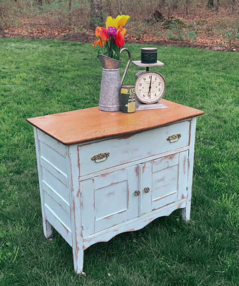 Antique Oak Commode in Robbins Egg Blue