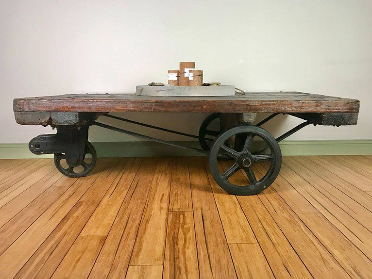 Antique Industrial Rail Coffee Table $900