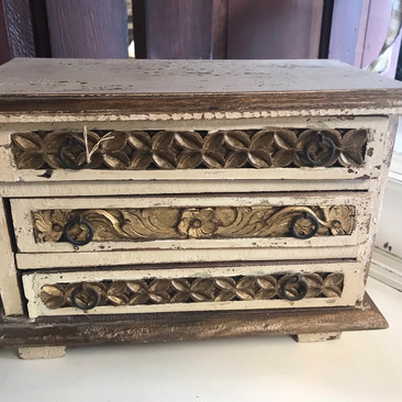 Antique Wooden Jewelry Box $40