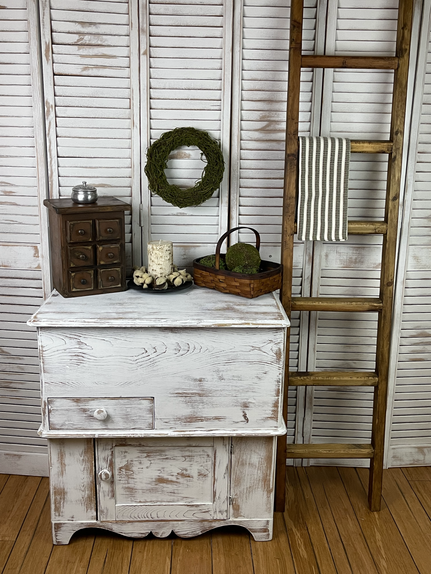 Antique Chippy White Pine Dry Sink - $125