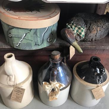Assorted Antique Jugs $25 Hat Box $25 Antique Cork Decoy $30