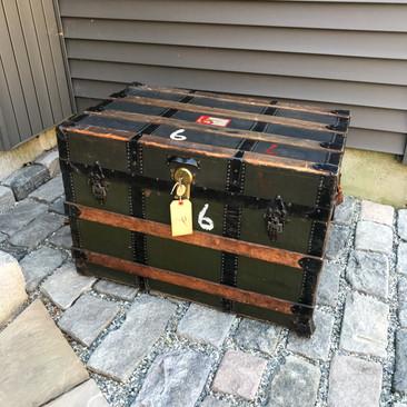 Antique Flat Top Steamer Trunk $125