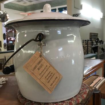 Vintage Enamel Pot w/ Lid - $40
